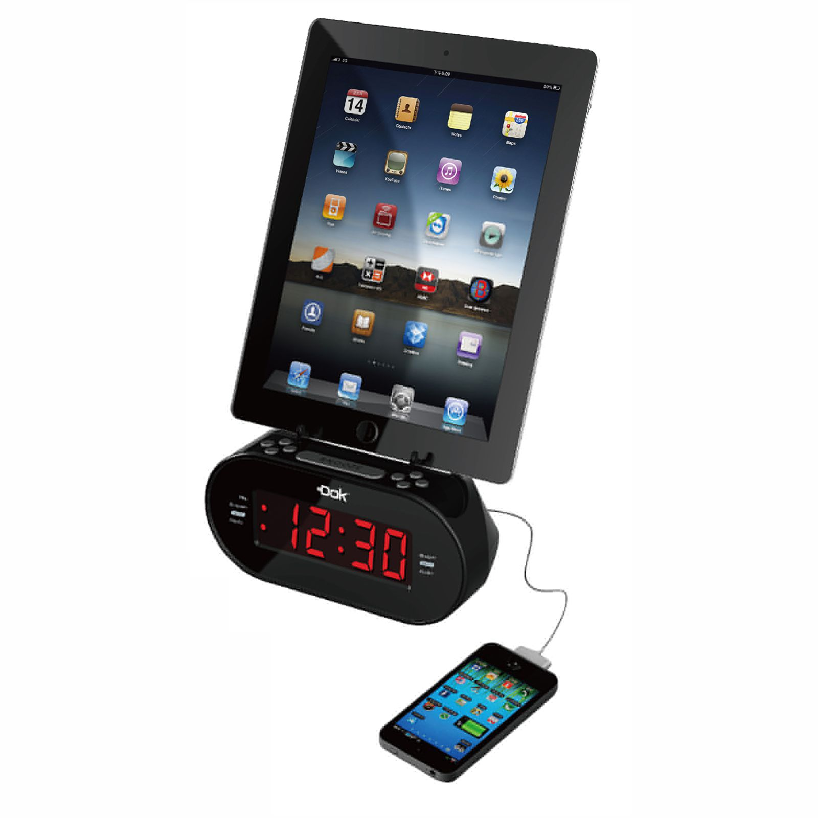 CR09 - Universal Dual Charger with Alarm Clock And Cradle