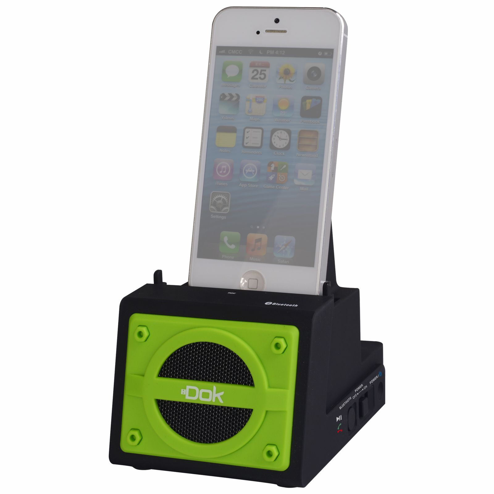 CR13GN - 2 Port Smart Phone Charger with Bluetooth Speaker, Speaker Phone, Rechargeable Battery (Green Face)